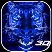 3D Blue Neon Tiger icon