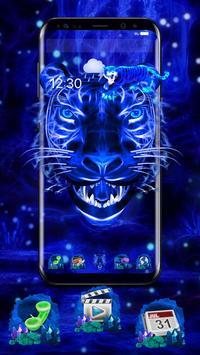 3D Blue Neon Tiger poster