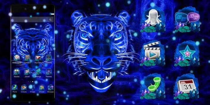 3D Blue Neon Tiger screenshot 3