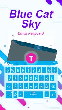 Blue Cat Sky Theme&Emoji Keyboard poster