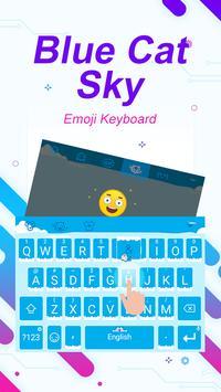 Blue Cat Sky Theme&Emoji Keyboard apk screenshot