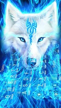 Fire Flaming Blue Ice Wolf Keyboard Theme poster