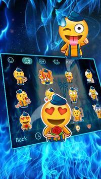 Fire Flaming Blue Ice Wolf Keyboard Theme screenshot 2