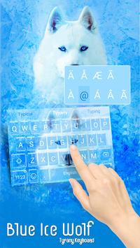 Blue Ice Wolf Theme&Emoji Keyboard poster