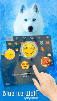 Blue Ice Wolf Theme&Emoji Keyboard apk screenshot