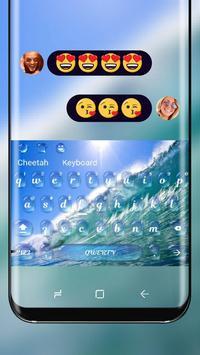 Blue Ocean Theme Keyboard Wave Wallpaper poster