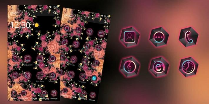 Black pink flower theme apk screenshot