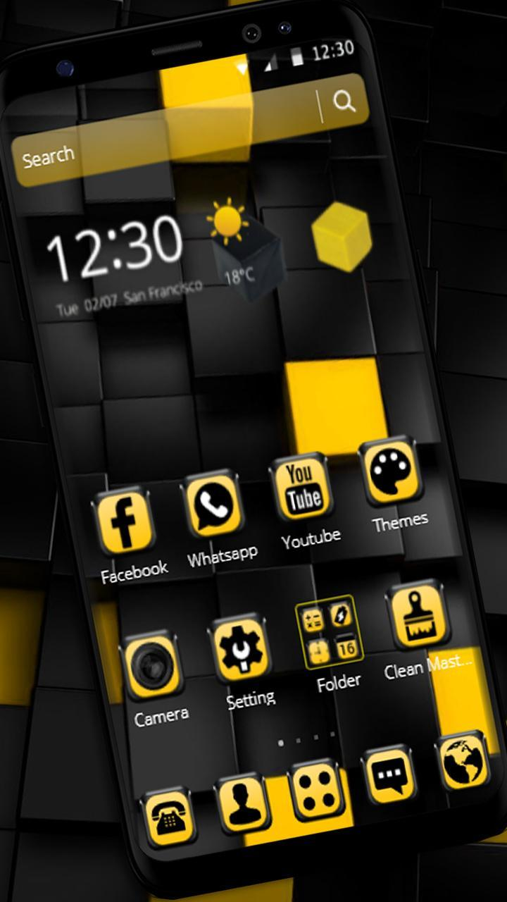 Yellow Black Cube Theme for Android - APK Download