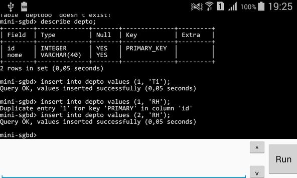 MiniSgbd Run SQL apk screenshot