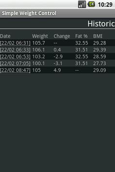 Simple Weight Control apk screenshot
