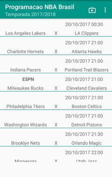 Programação NBA Brasil 2017-2018 apk screenshot