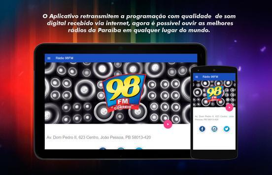 Rádio Correio 98 FM JP apk screenshot