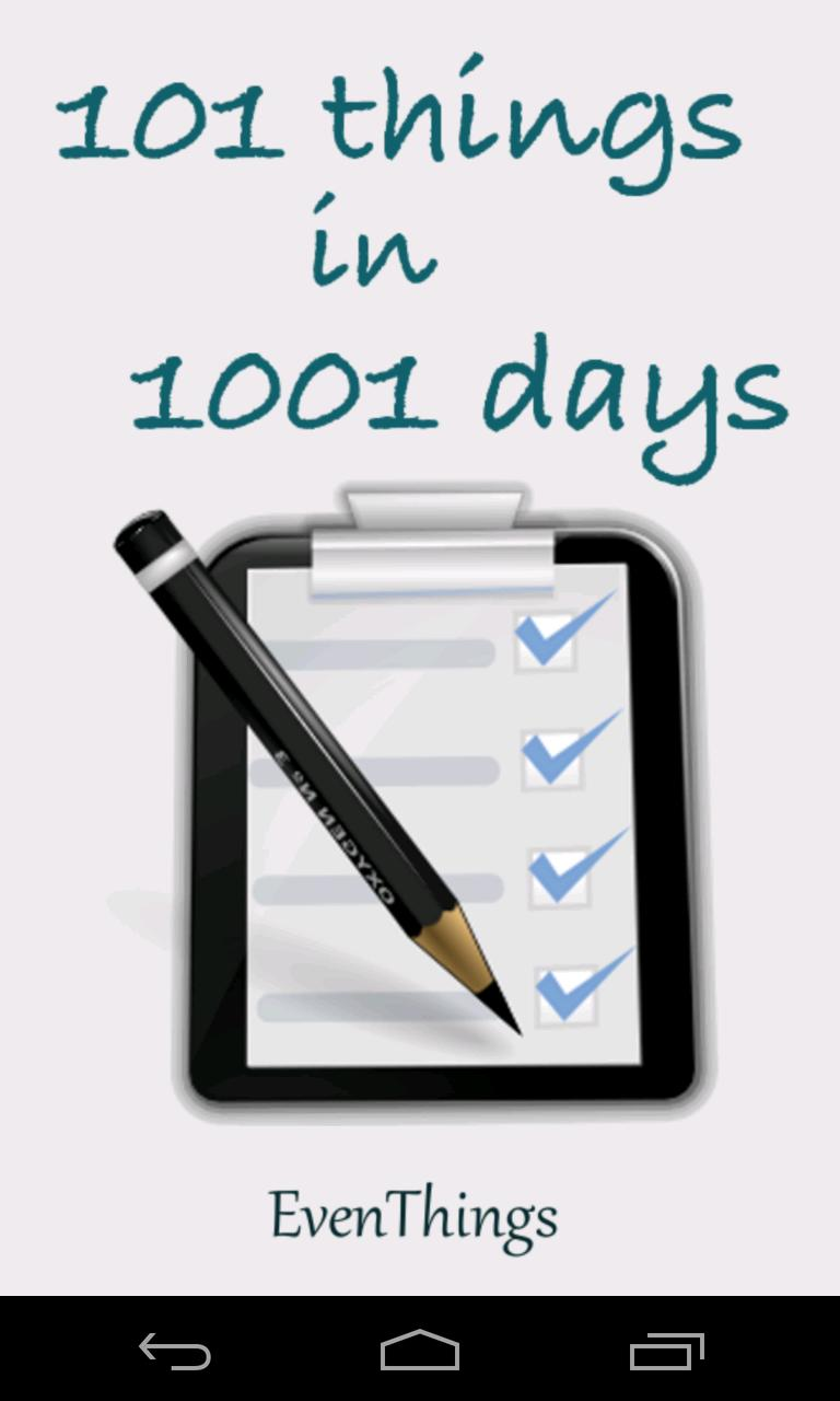 101 Things in 1001 Days FREE poster