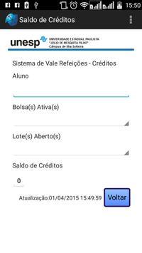 UNESP Consulta de Créditos RU apk screenshot