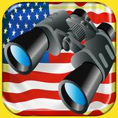 USA Binoculars zoom camera icon