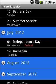 The Holiday List apk screenshot