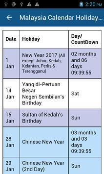 Malaysia Calendar Holiday 2017 screenshot 3