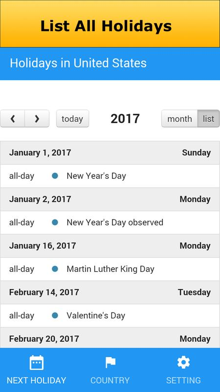 World Holiday Calendar 2017 For Android Apk Download