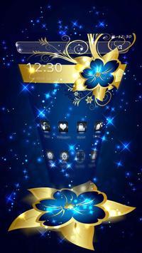 Golden Blue Flower poster