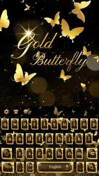 Golden Butterfly Keyboard Theme poster