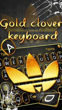 Beautiful Gold Clover Keyboard Theme poster