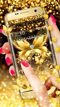 Diamond Butterfly Golden Theme apk screenshot