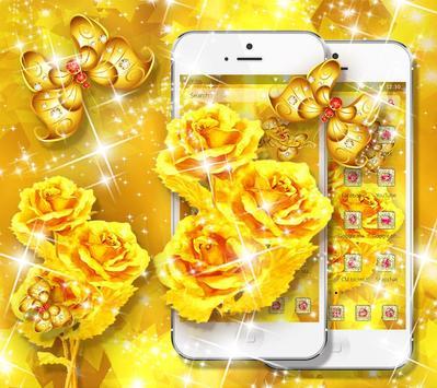 Golden Rose Butterfly Launcher apk screenshot