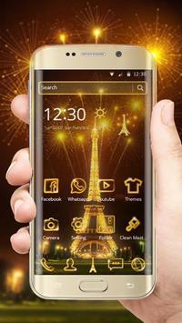 Golden Paris Eiffel Tower poster