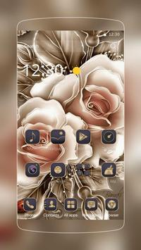Golden Rose Flower Theme Poster