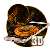 3d  Golden Sparkle Globe Theme icon