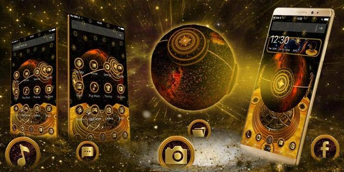 3d  Golden Sparkle Globe Theme screenshot 7