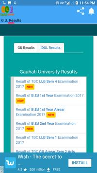 Gauhati University Exam Result screenshot 1