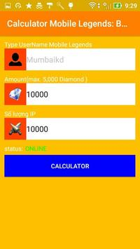 Diamond Mobile Legends Bang Bang Calculator screenshot 2