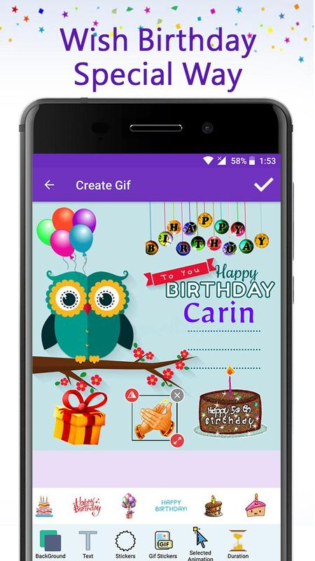 Birthday GIF Maker With Name Photo Poster