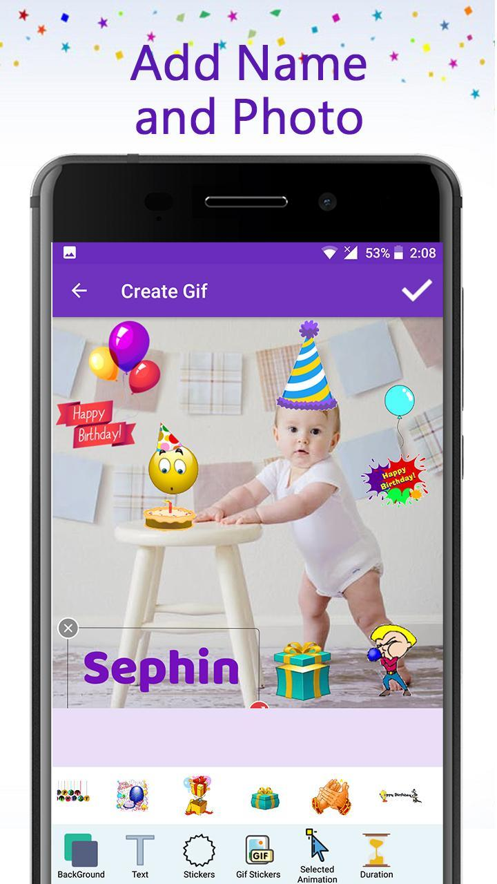 Birthday Gif Maker With Name Photo For Android Apk Download