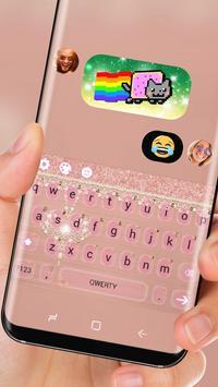 Pink Lace Diamond Keyboard Princess Dream Theme apk screenshot