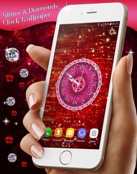 Glitter & Diamonds Clock Wallpaper screenshot 5