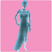 Hologram simulator for woman icon