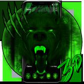 3d Green Neon Bear icon