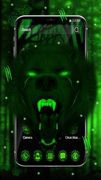 3d Green Neon Bear poster