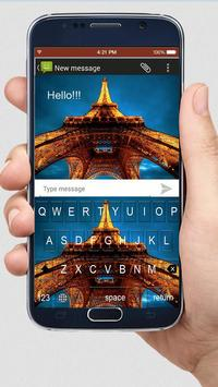 Night Eiffel Tower keyboard themes screenshot 2