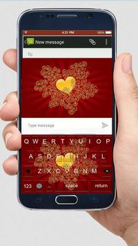 Gold Rose Heart Keyboard Theme poster