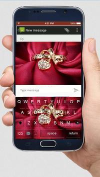 Gold Rose Heart Keyboard Theme apk screenshot