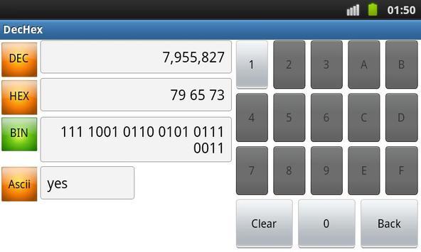 DEC HEX BIN ASCII Converter screenshot 2