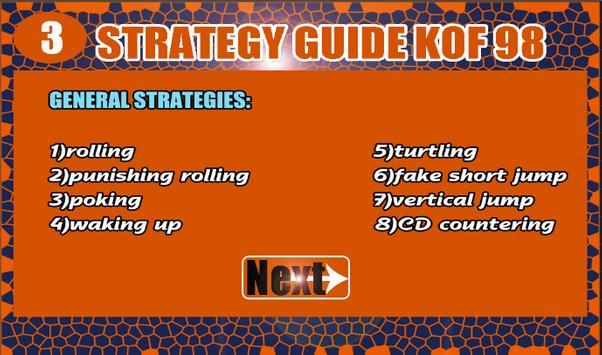pro Guide for kof 98 97 strategies and new tips apk screenshot