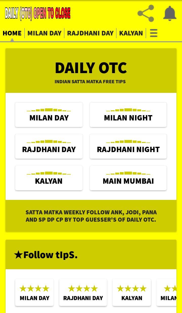 Daily OTC Indian Satta Kalyan Main Milan Rajdhani cho Android - Tải