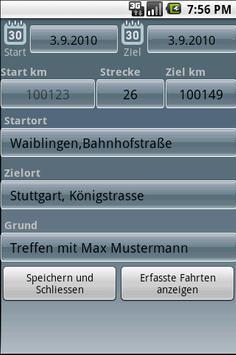 Fahrtenbuch For Android Lizenz screenshot 1