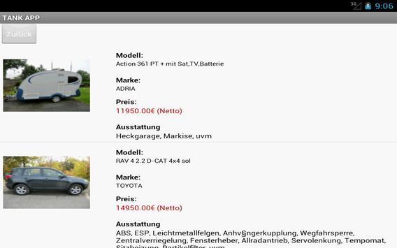 Tank Reisemobile apk screenshot