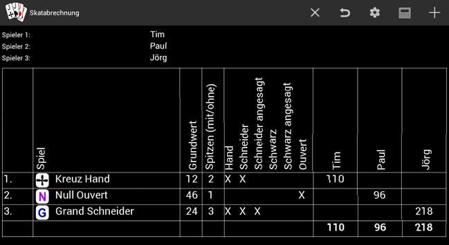 Skatabrechnung apk screenshot