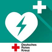 Rot Kreuz Defi und Notruf App Zeichen